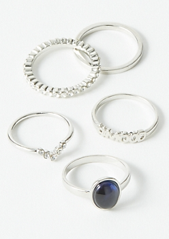 5-Pack Silver Oval Mood Ring Set
