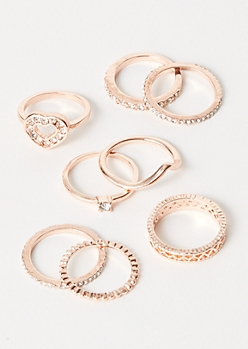 8-Pack Rose Gold Gem Heart Ring Set