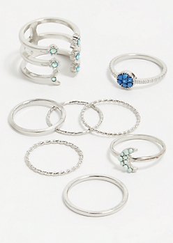 8-Pack Silver Blue Floral Gem Ring Set