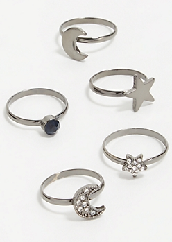 5-Pack Dark Metal Celestial Ring Set