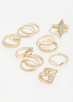 11-Pack Gold Skinny Band Ring Set