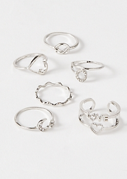 6-Pack Silver Love Knot Moon Ring Set