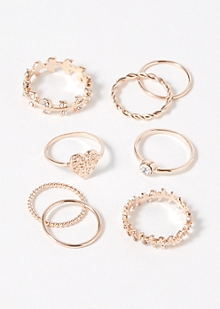 8-Pack Rose Gold Heart Leaves Ring Set