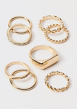 8-Pack Gold Rhinestone Twist Band Rings