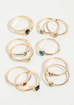 10-Pack Gold Rainbow Gemstone Ring Set