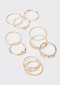 10-Pack Gold Braided Gem Stacking Rings