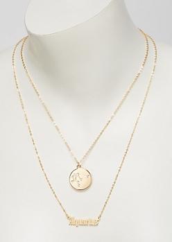Gold Aquarius Double Layer Necklace Set