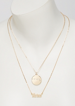 Gold Aries Double Layer Necklace Set