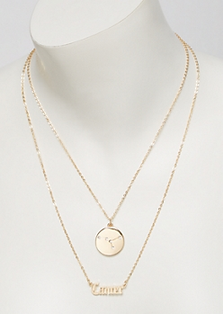 Gold Cancer Double Layer Necklace Set
