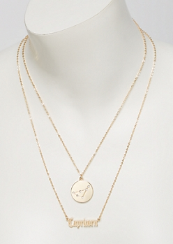 Gold Capricorn Double Layer Necklace Set