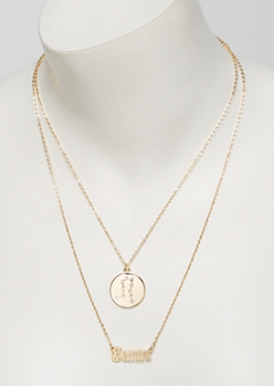 Gold Gemini Double Layer Necklace Set
