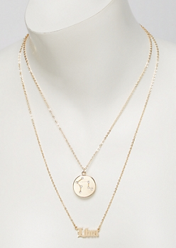 Gold Libra Double Layer Necklace Set