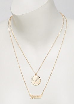 Gold Pisces Double Layer Necklace Set