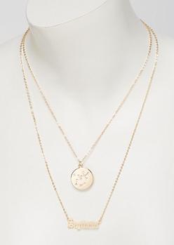 Gold Sagittarius Double Layer Necklace Set