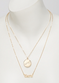 Gold Taurus Double Layer Necklace Set