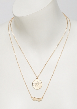 Gold Virgo Double Layer Necklace Set