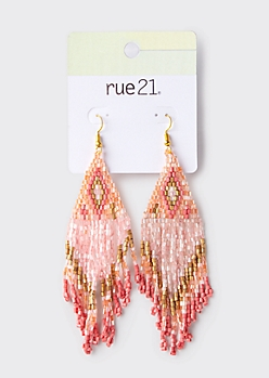 Pink Southwestern Tassel Bead Earrings