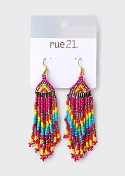 Yellow Southwestern Tassel Bead Earrings