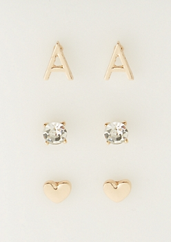 3-Pack A Initial Stud Earrings