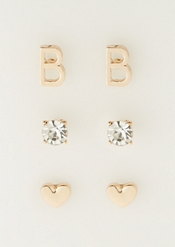 3-Pack B Initial Stud Earrings