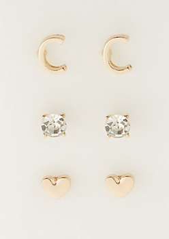 3-Pack C Initial Stud Earrings