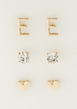 3-Pack E Initial Stud Earrings