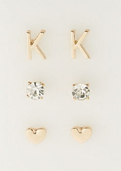 3-Pack K Initial Stud Earrings