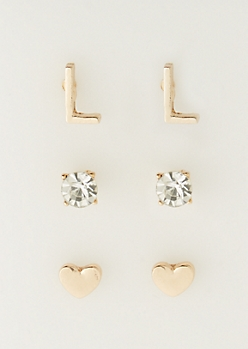 3-Pack L Initial Stud Earrings