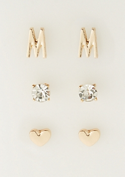 3-Pack M Initial Stud Earrings