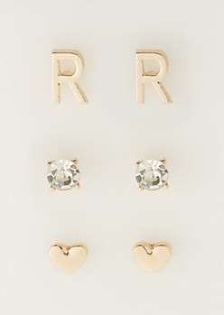 3-Pack R Initial Stud Earrings