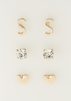3-Pack S Initial Stud Earrings