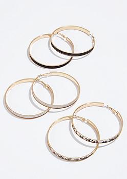 3-Pack Gold Leopard Print Glitter Hoop Earring Set