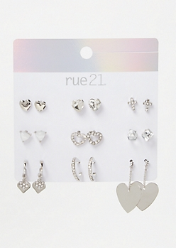 9-Pack Silver Heart Stud Earring Set