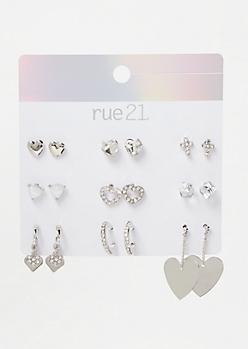 9-Pack Silver Heart Stud Earring Set