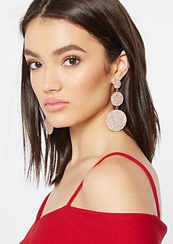 Gold Opal Stone Circle Earrings