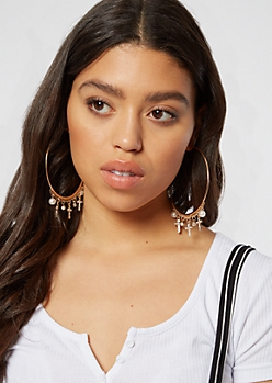 Gold Cross Pearl Hoops