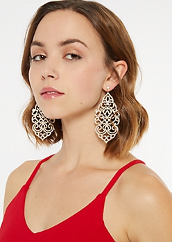 Gold Filigree Statement Earrings