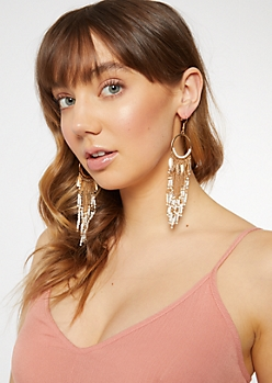 Gold Beaded Dreamcatcher Hoops