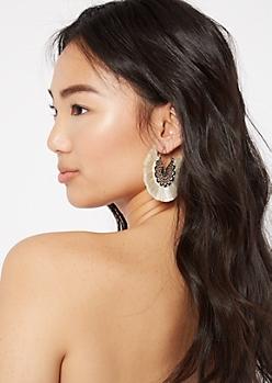 White Fringe Mandala Earrings