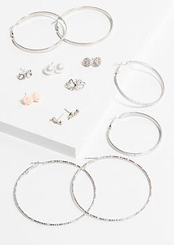 9-Pack Silver Love Earring Set