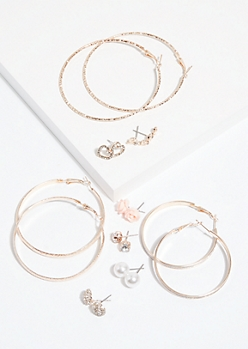 9-Pack Rose Gold Stud and Hoop Earring Set