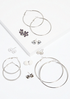 9-Pack Silver Floral Pattern Stud and Hoop Earring Set