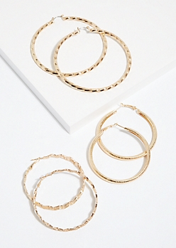 3-Pack Gold Zig Zag Hoop Earring Set
