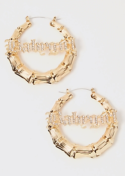 Gold Rhinestone Babygirl Bamboo Hoop Earrings