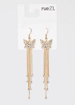 Gold Rhinestone Butterfly Drop Chain Statement Earrings