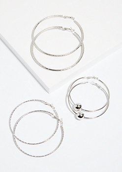 3-Pack Silver Trio Hoop Earring Set