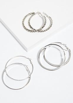 3-Pack Silver Glitter & Rhinestone Hoop Earring Set