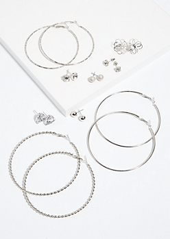 9-Pack Silver Stud and Hoop Earring Set