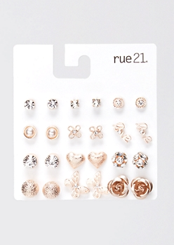 12-Pack Rose Gold Love Butterfly Stud Earring Set