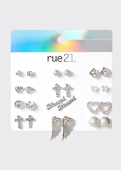 12-Pack Silver Blessed Wing Stud Earring Set